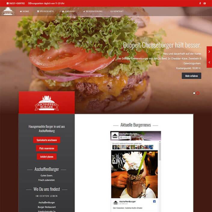Aschaffenburg hat mit dem AschaffenBurger eine neue Burgeria. Wirt Kassra wollte eine poppig-moderne, jugendliche Webseite. Entgegen meiner Vorliebe wurde sie ohne CMS im Zeitraum von 3 Wochen entwickelt.